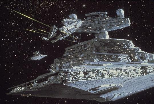 Star Destroyer chasing Millennium Falcon